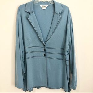Exclusively Misook Vintage Blue Cardigan Jacket 2x